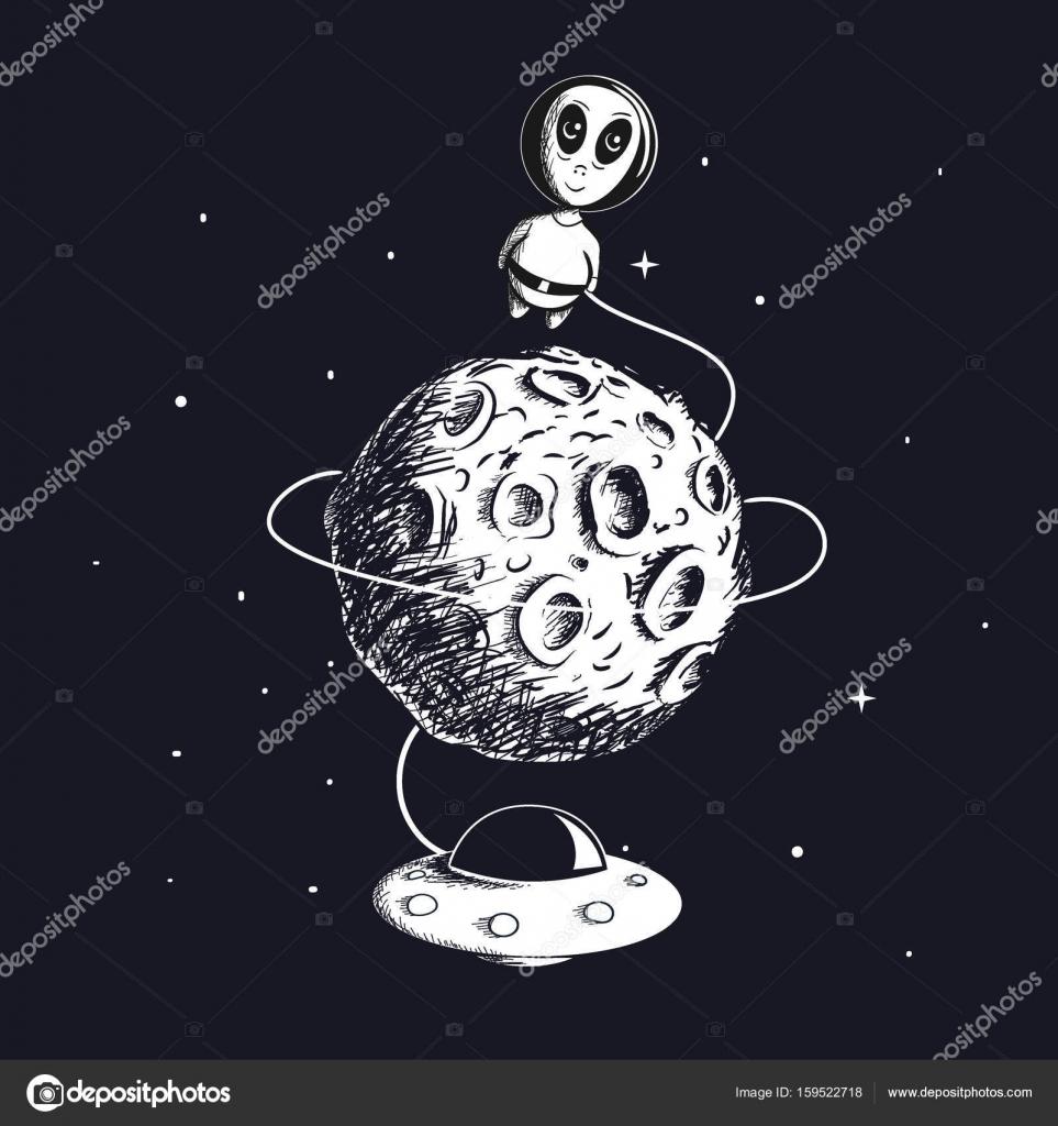 Extranjero lindo volando alrededor de la luna con OVNI — Vector de ...
