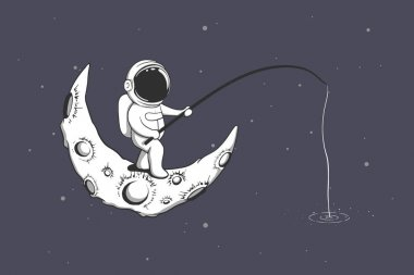 Download Astronaut Fishing Space Free Vector Eps Cdr Ai Svg Vector Illustration Graphic Art