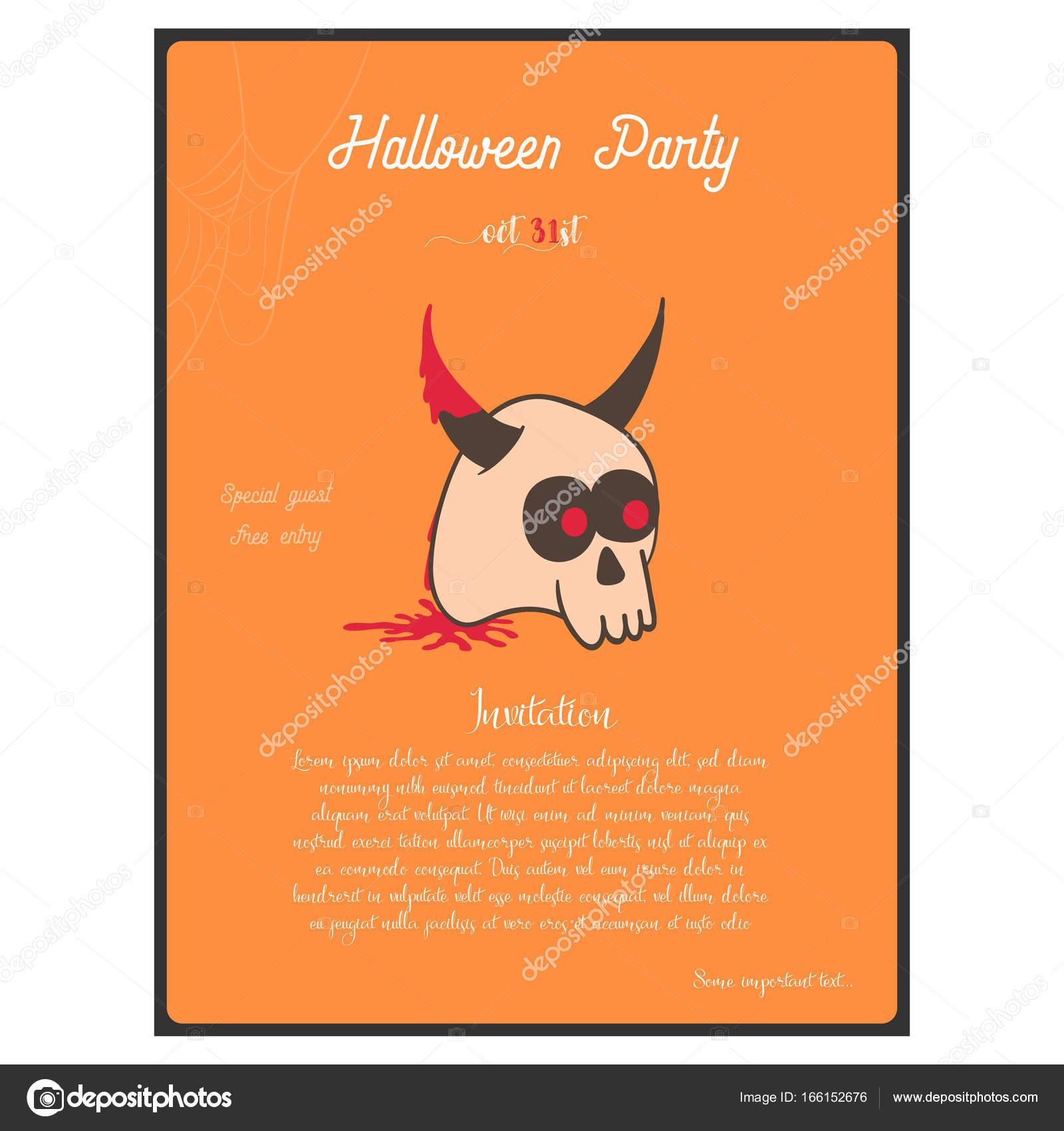 Szablon Zaproszenia Halloween Party Koncepcja Z Rogatą Czaszkę Na