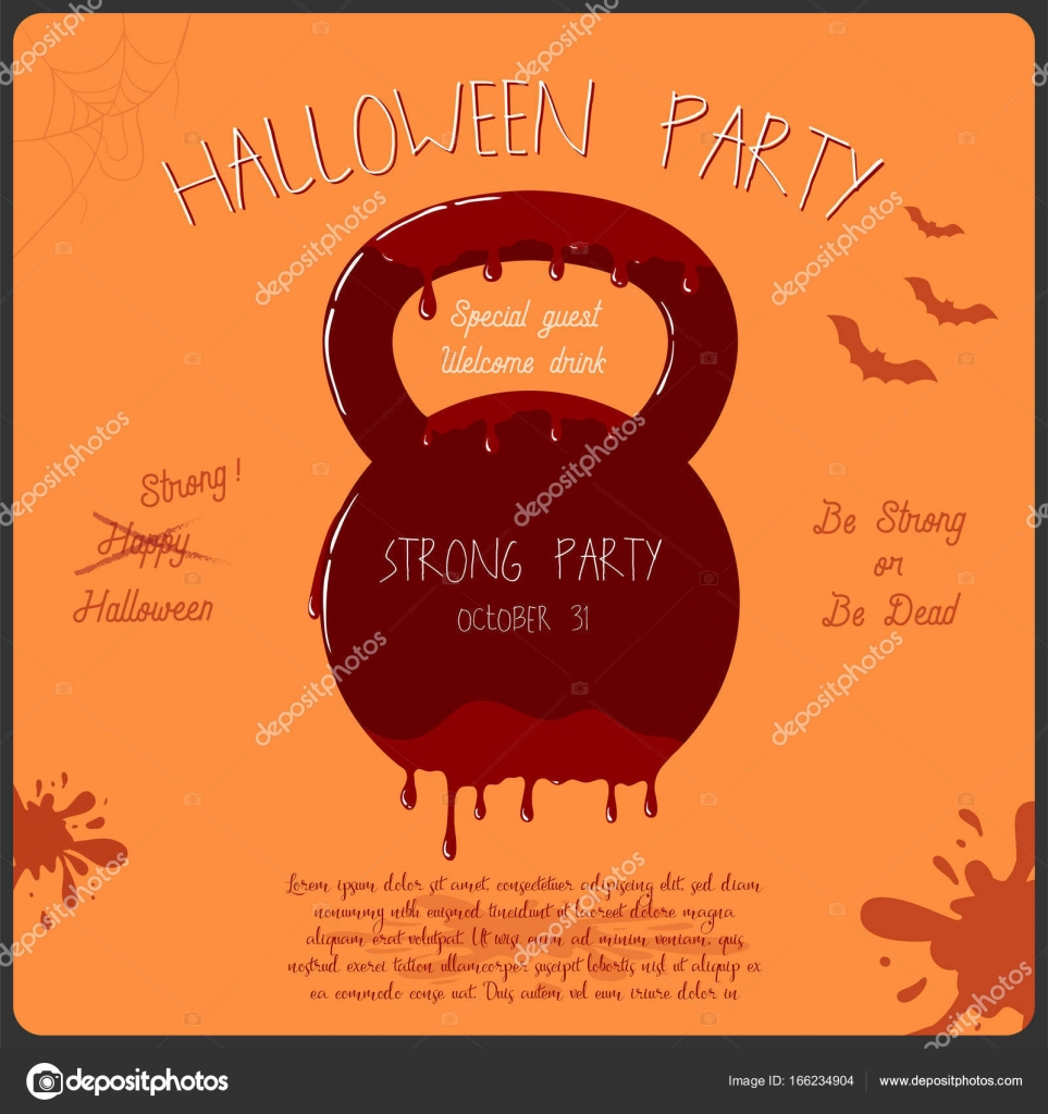 Template of Halloween party invitation card. Concept with bloody ...