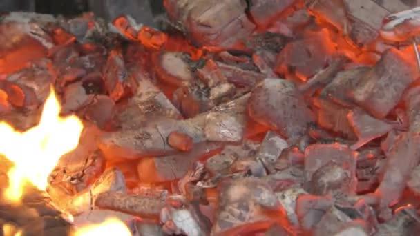 Plameny ohně a červenou uhlíky