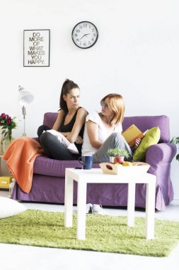 unhappy girls having conflict at home