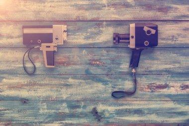 Video cameras on old vintage background