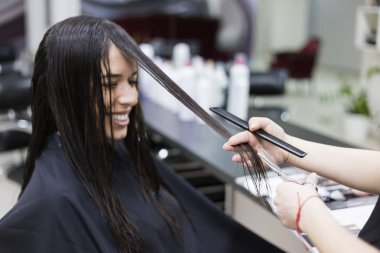 Woman in a hair salon, Haircut