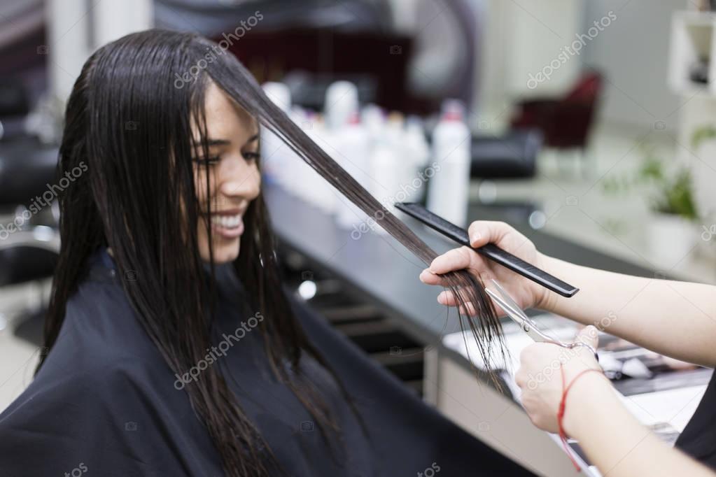 Woman in a hair salon, Haircut