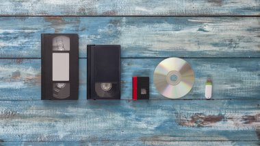 Video cassettes, audio cassettes and USB, flash drive