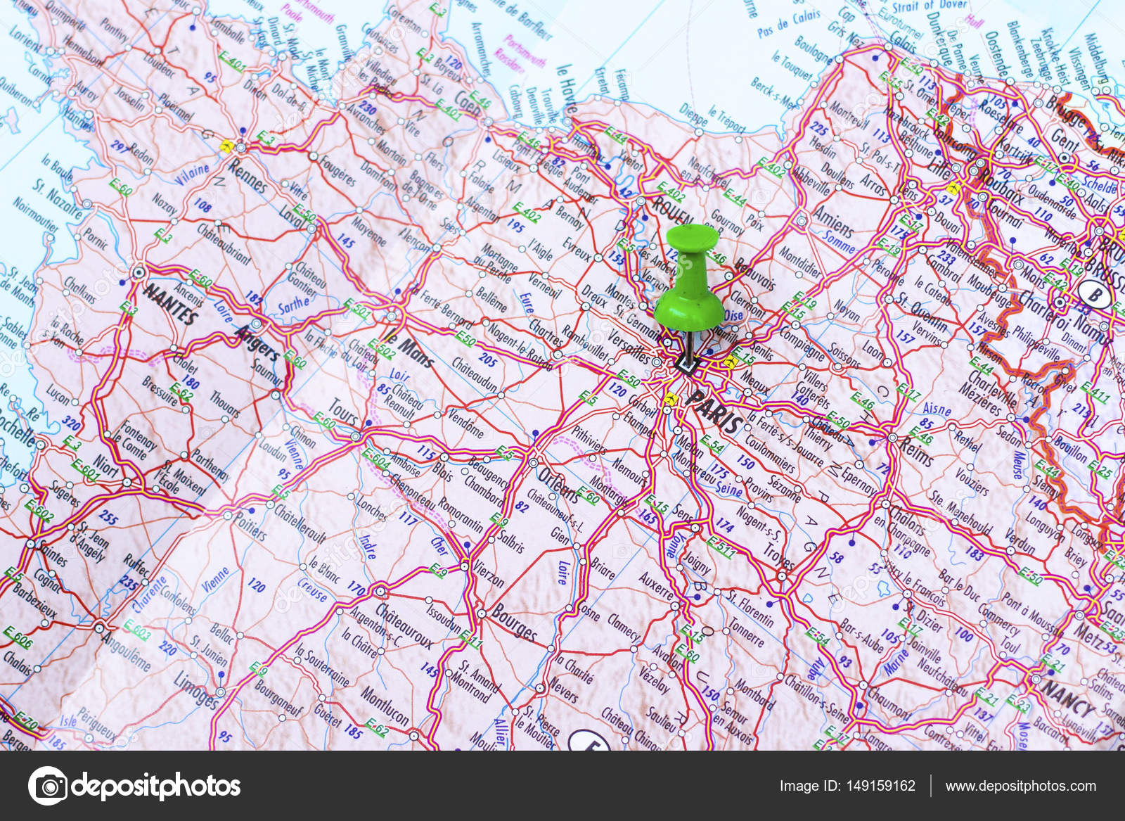 Green push pin pointing at paris stock photo nikodash 149159162 green push pin pointing at paris france photo by nikodash gumiabroncs Image collections