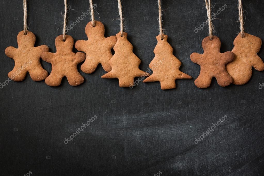 Weihnachten Aus Holz Hintergrund Mit Tanne Baum Lebkuchen Und