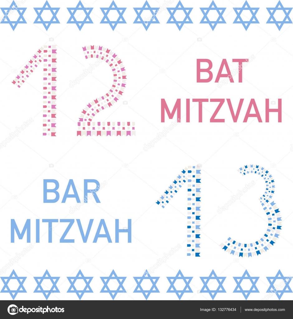 Bat Mizwa und Bar Mizwa. 12 und 13 Jahre alt — Stockvektor ...