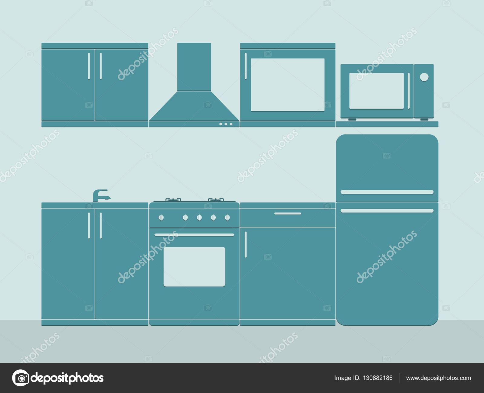 Hervorragend Innenausbau Küche Zimmer In Blau. Flache Vektor Illustration U2014 Stockvektor