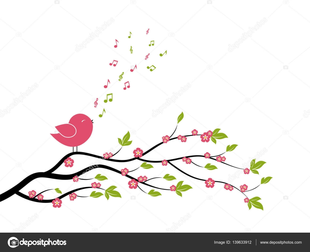 Spring Bird On Tree Singing Song From The Musical Notes. U2014 Stock Vector