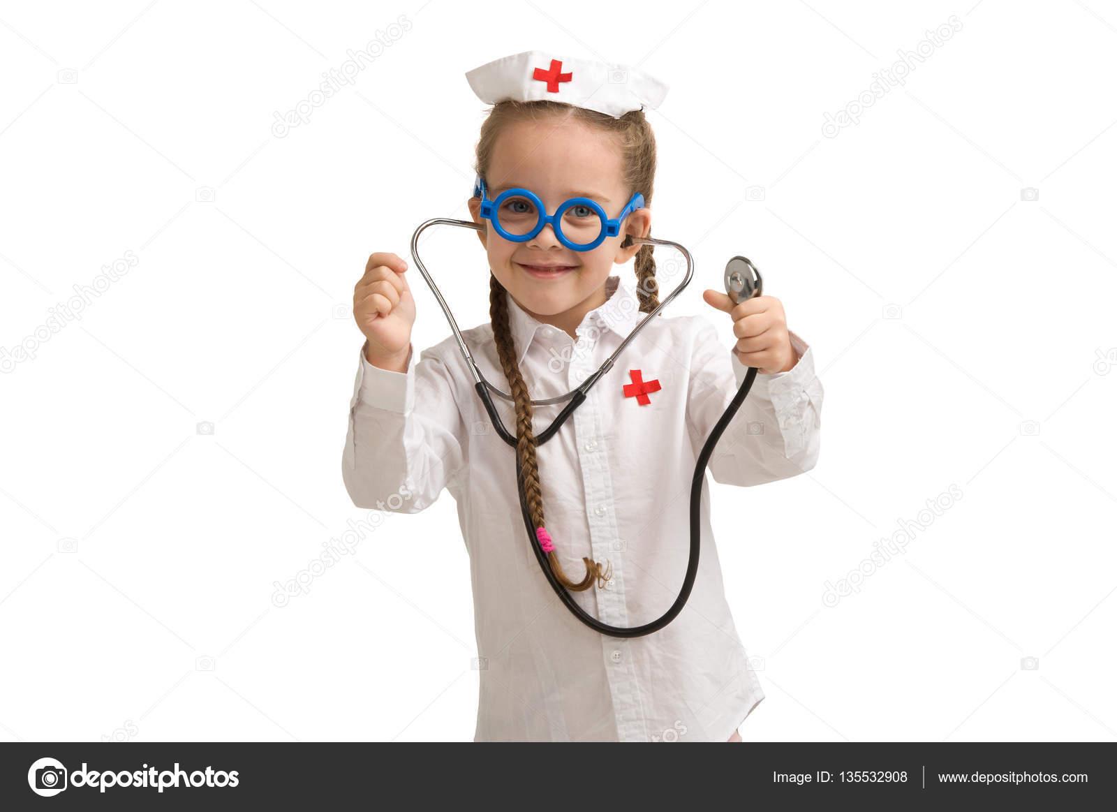 9e5339429ea Little girl nurse costume | Little girl in nurse costume. — Stock ...
