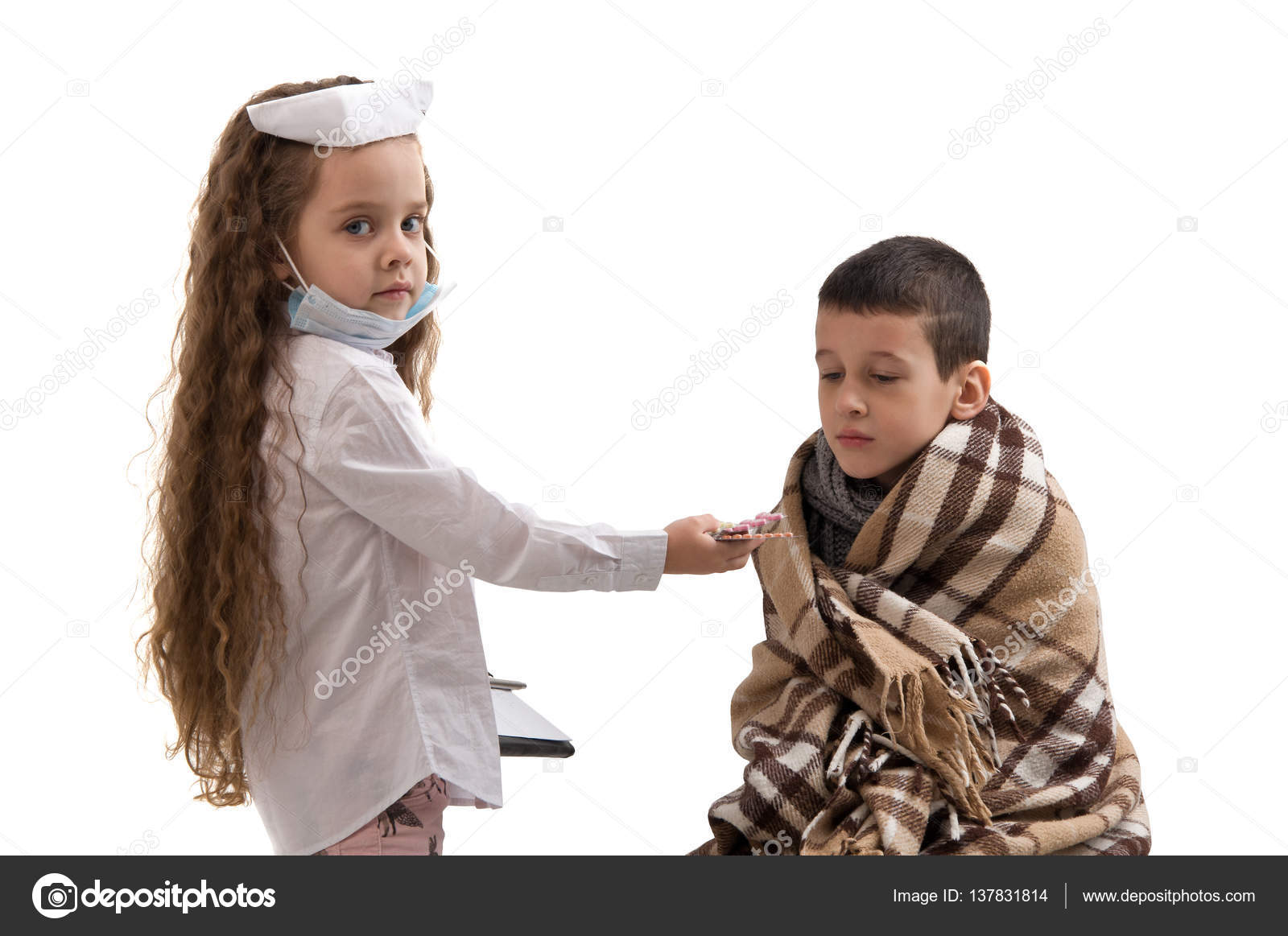 ffbdf2151ebb8 little girl in nurse costume. Boy ill flu. — Stock Photo ...