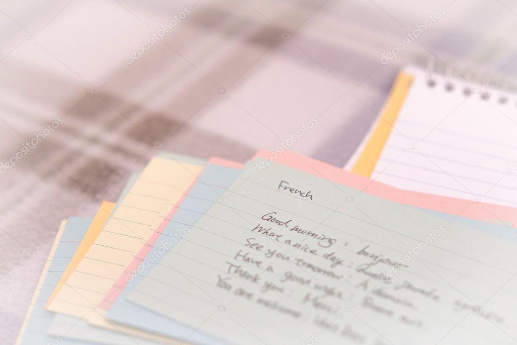 Frans Leren Van De Nieuwe Taal Schrijven Groeten Op De Notebook