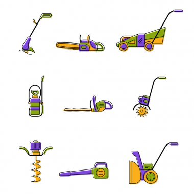 Icons of gardening power tools