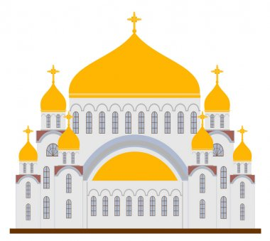 Orthodox churches icons. Religion buildings isolated on white background. Illustration of orthodox church for christian, architecture building religion