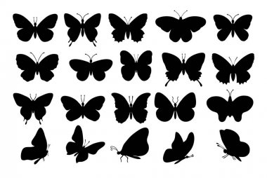 Butterflies silhouettes. spring butterfly silhouette collection isolated on white background. icon