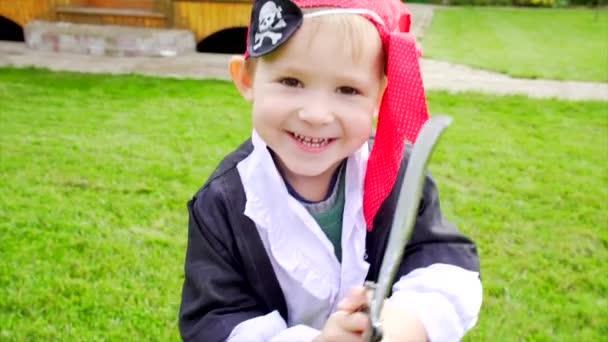 Little boy in pirate costume on Halloween party