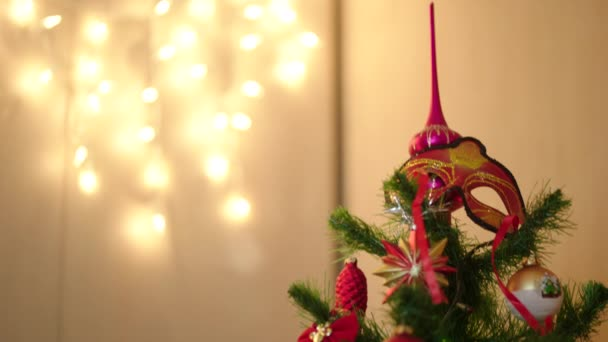 A letter to Santa Claus on Christmas tree with decoration