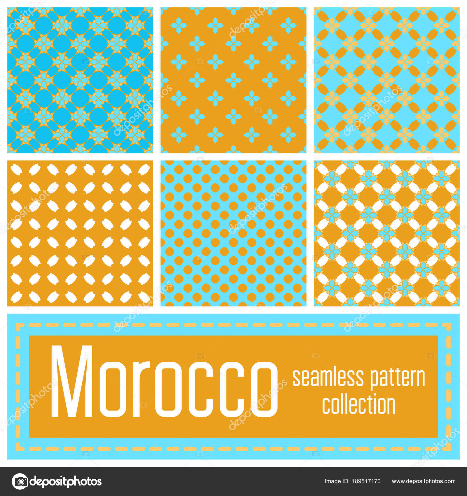 Set Of 6 Morocco Patterns Background Geometric Seamless Muslim Ornament