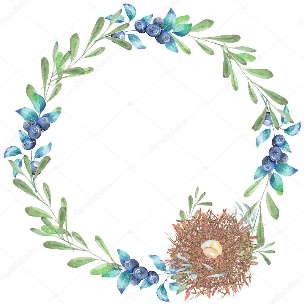 Marco de círculo, corona con acuarela ramas verdes, arándanos y nido ...