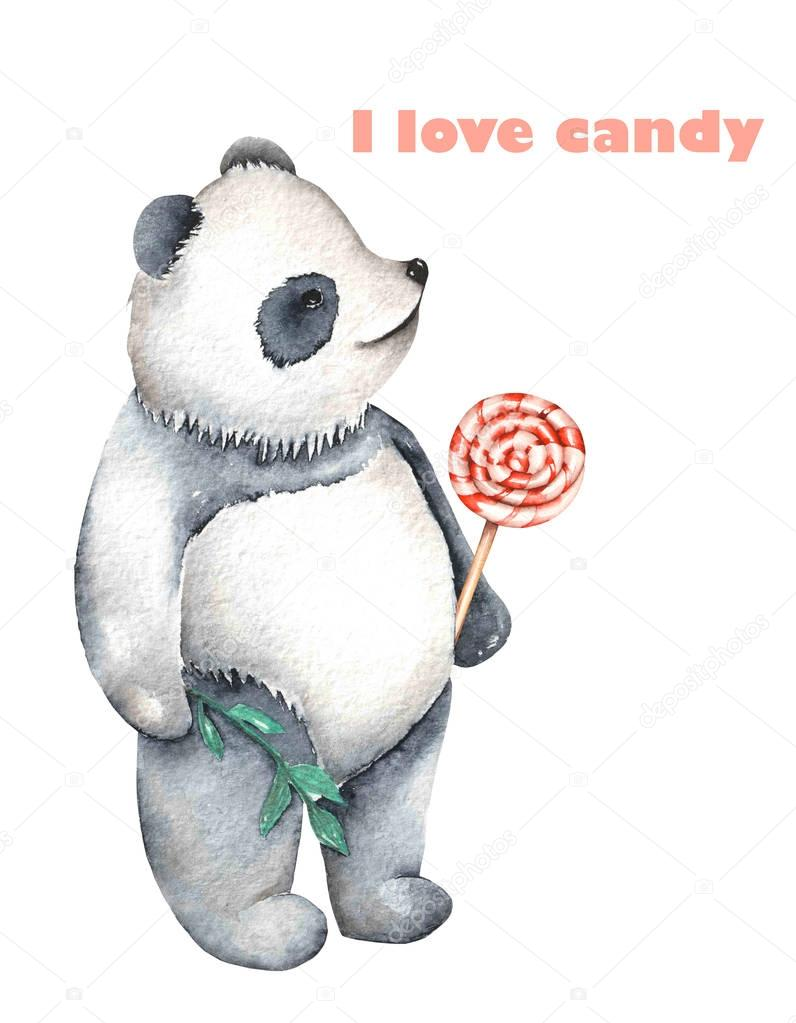 template of postcard with watercolor illustration panda and lollipop