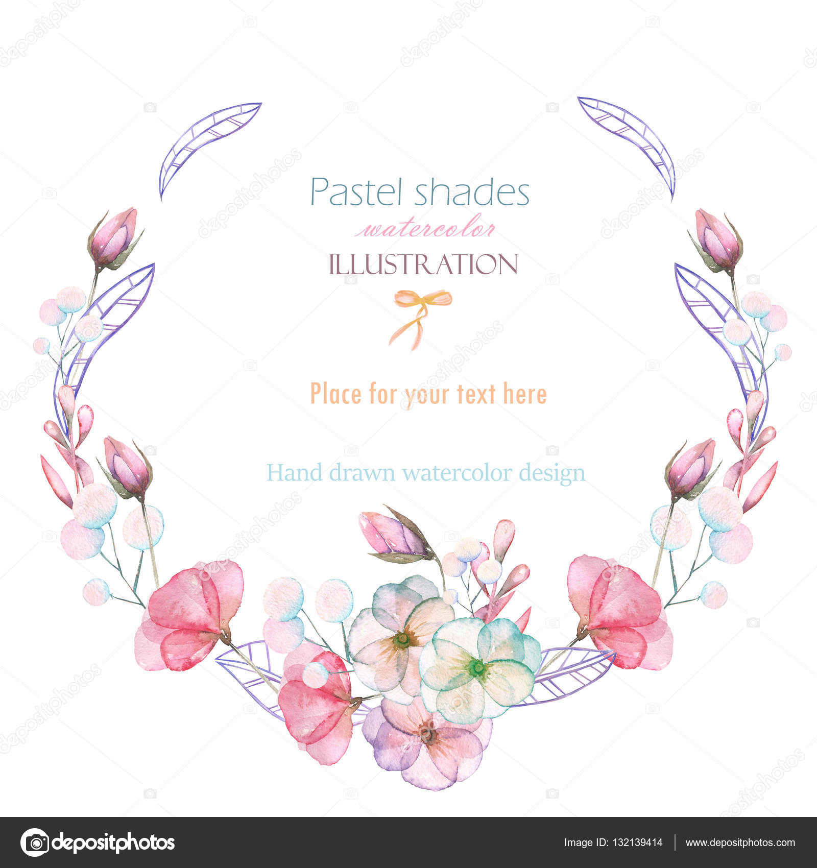 Vector round frame with pink flowers on white background in pastel - Circle Frame Border Wreath With Watercolor Tender Flowers And Leaves In Pastel Shades Hand Drawn On A White Background For Invitation Card Decoration