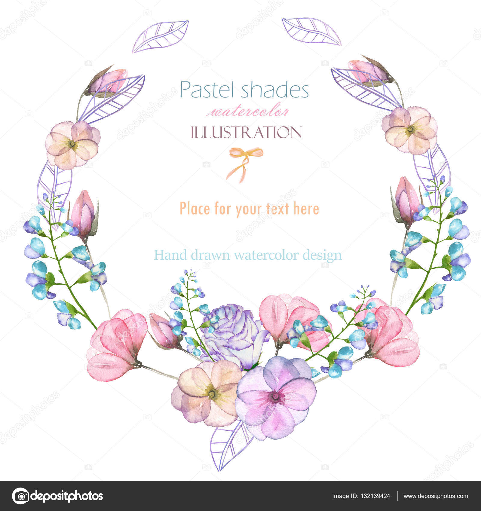 circle frame border wreath with watercolor tender flowers and leaves in pastel shades stock. Black Bedroom Furniture Sets. Home Design Ideas