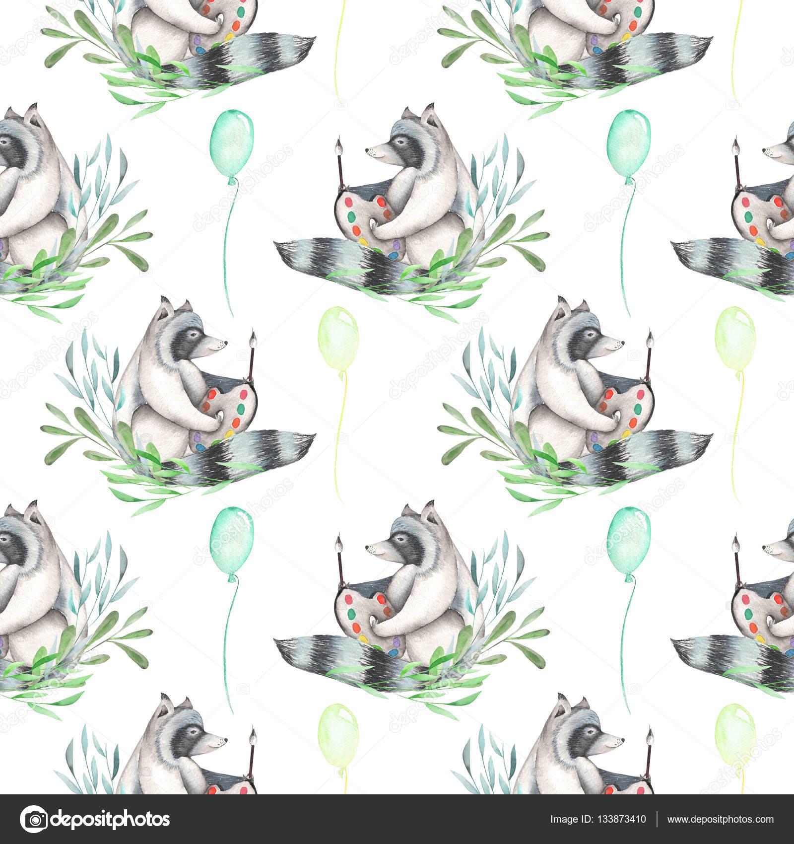 Patrón sin fisuras con acuarela artista-mapache en plantas y globos ...