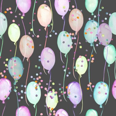 Seamless party pattern with multicolored air balloons and confetti