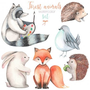 Collection, set of watercolor cute forest animals illustrations