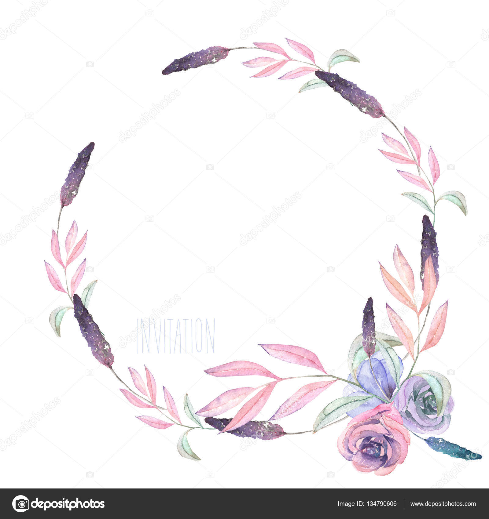 Circle Frame Border Wreath With Watercolor Tender Flowers And Leaves In Pastel Shades