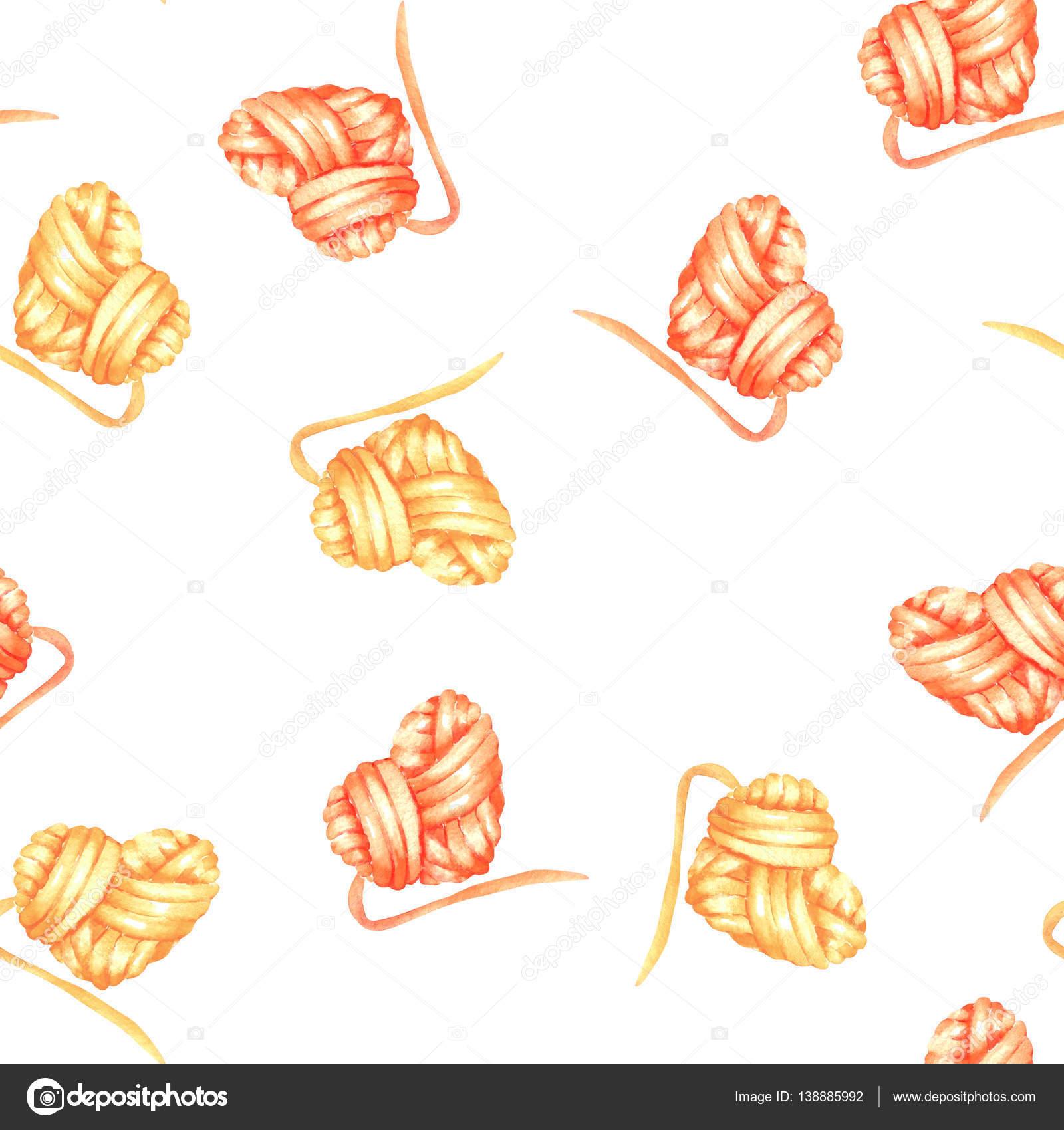 Nahtlose Muster mit Aquarell gelbe und rote Herzen Knäuel ...