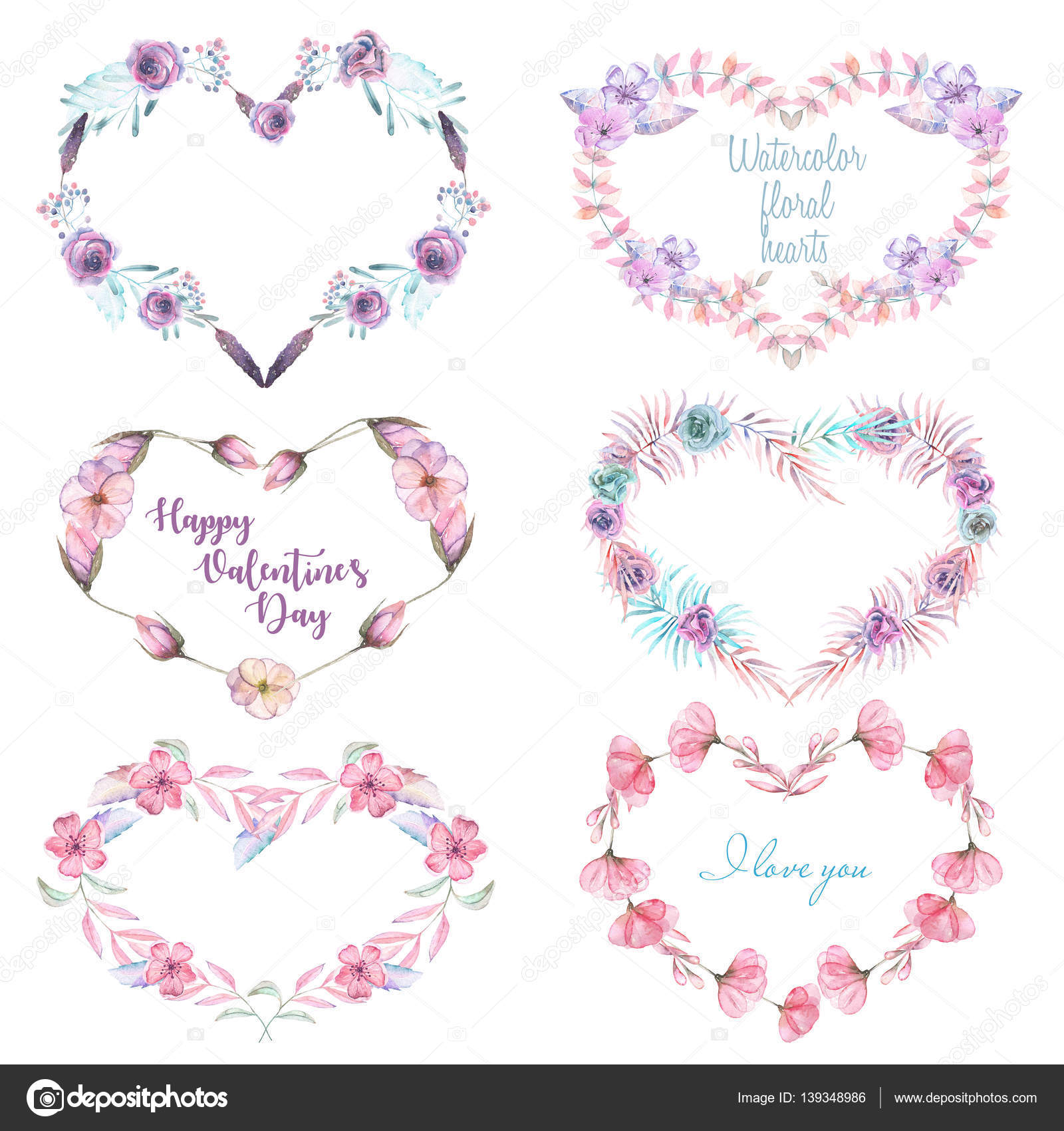 Of Wreaths Illustration Set Collection Of Wreaths With Watercolor Heart Of