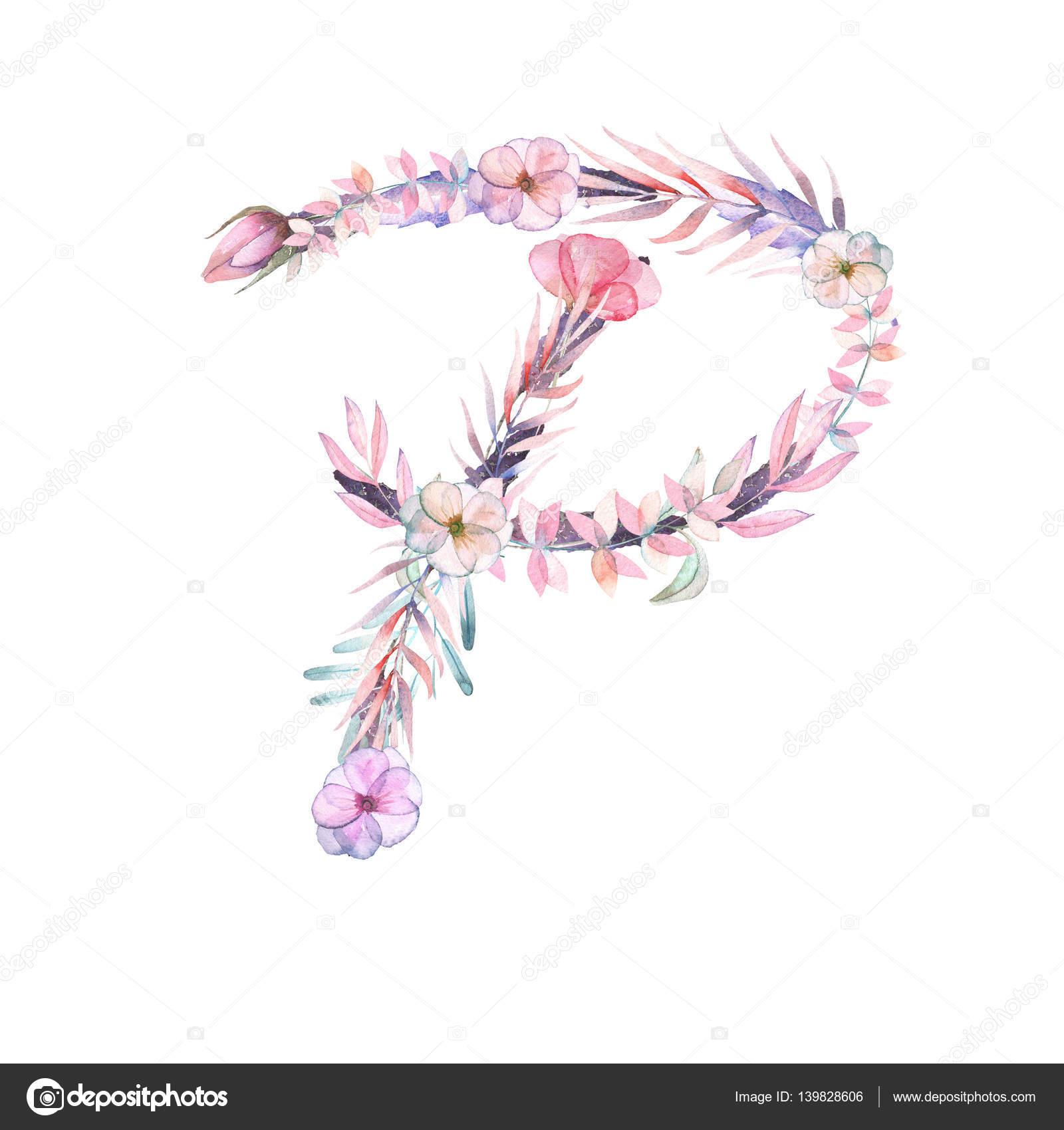 Sulu Boya Pembe Ve Mor çiçeklerin Büyük Harf P Stok Foto