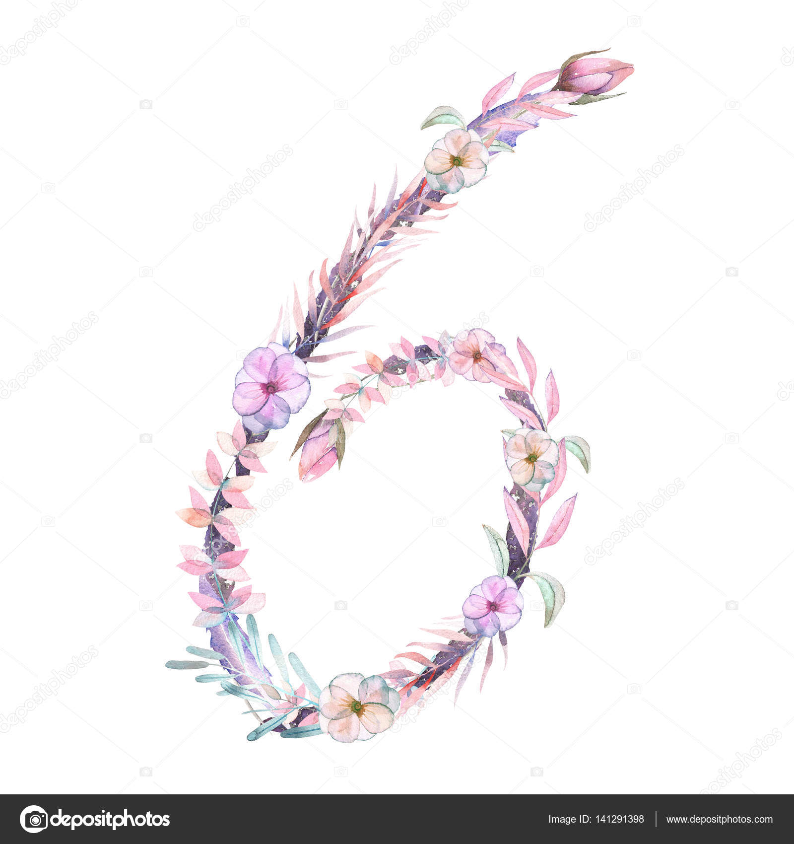 Number \'\'6\'\' of watercolor pink and purple flowers, isolated hand ...