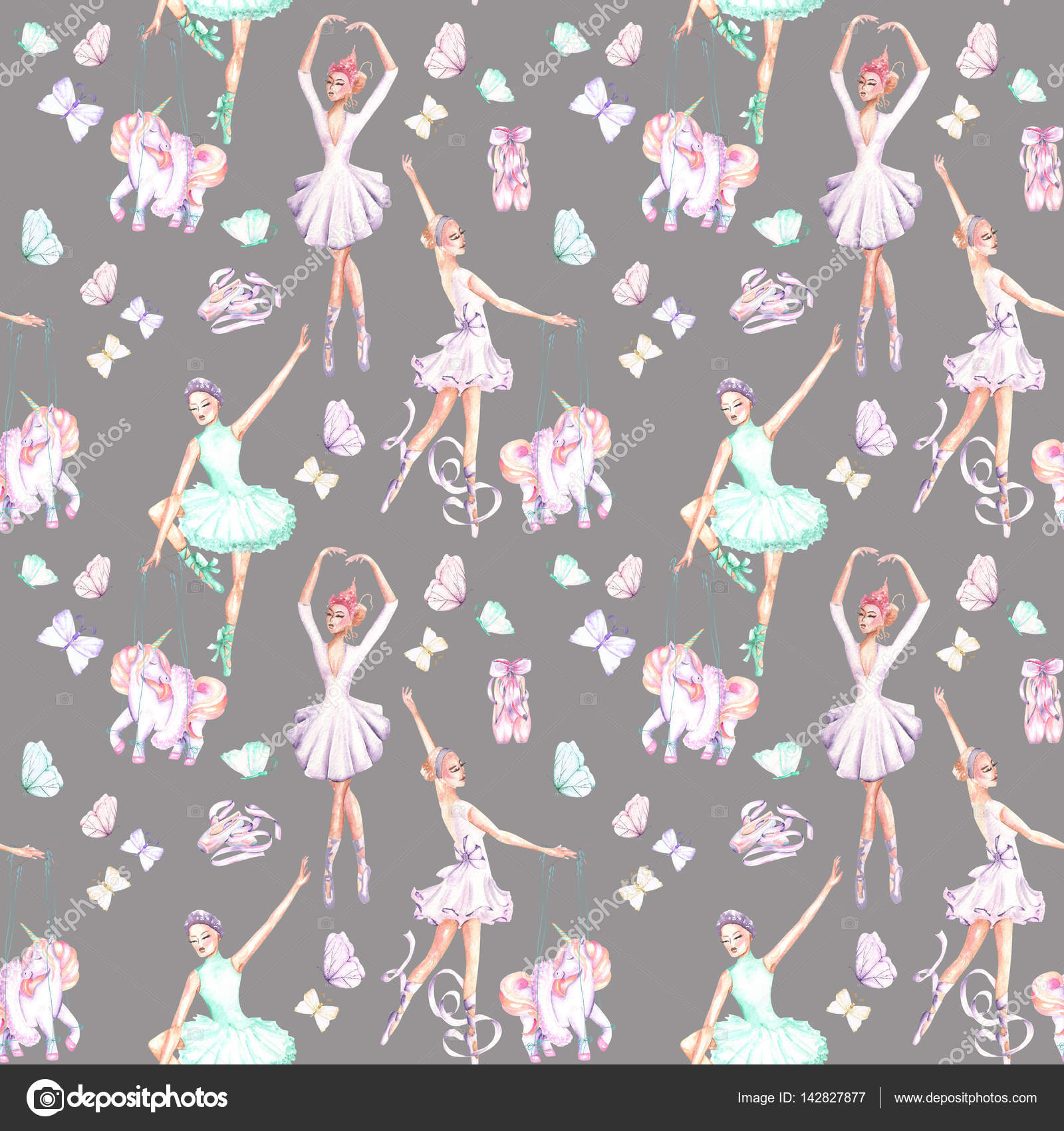 Seamless pattern of ballet dancers royalty free stock photography - Seamless Pattern With Watercolor Ballet Dancers Puppet Unicorns Butterflies And Pointe Shoes Stock