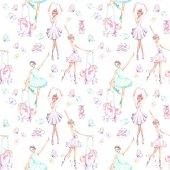Varrat nélküli mintát akvarell balett-táncosok, a báb egyszarvúak, a pillangók és a pointe cipők