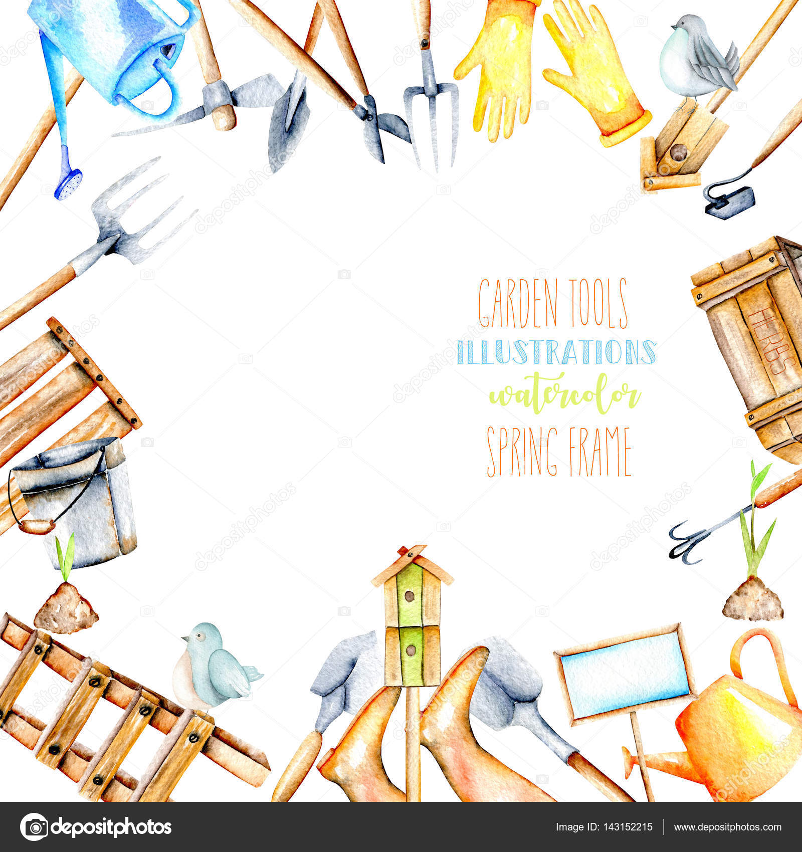 Frame Border With Watercolor Objects Of Garden Tools Hand Drawn Isolated On A White Background Photo By NastyaSklyarova