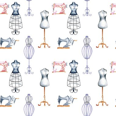 Seamless pattern with watercolor retro mannequins and sewing machines