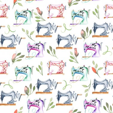 Seamless pattern with watercolor retro sewing machines and floral elements