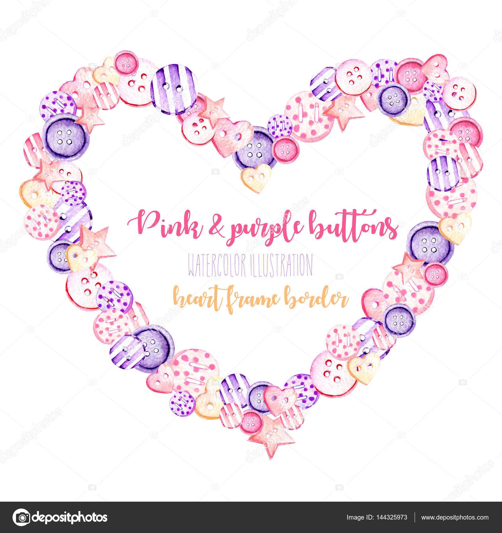 Marco de corazón, frontera con acuarela botones color rosa y púrpura ...