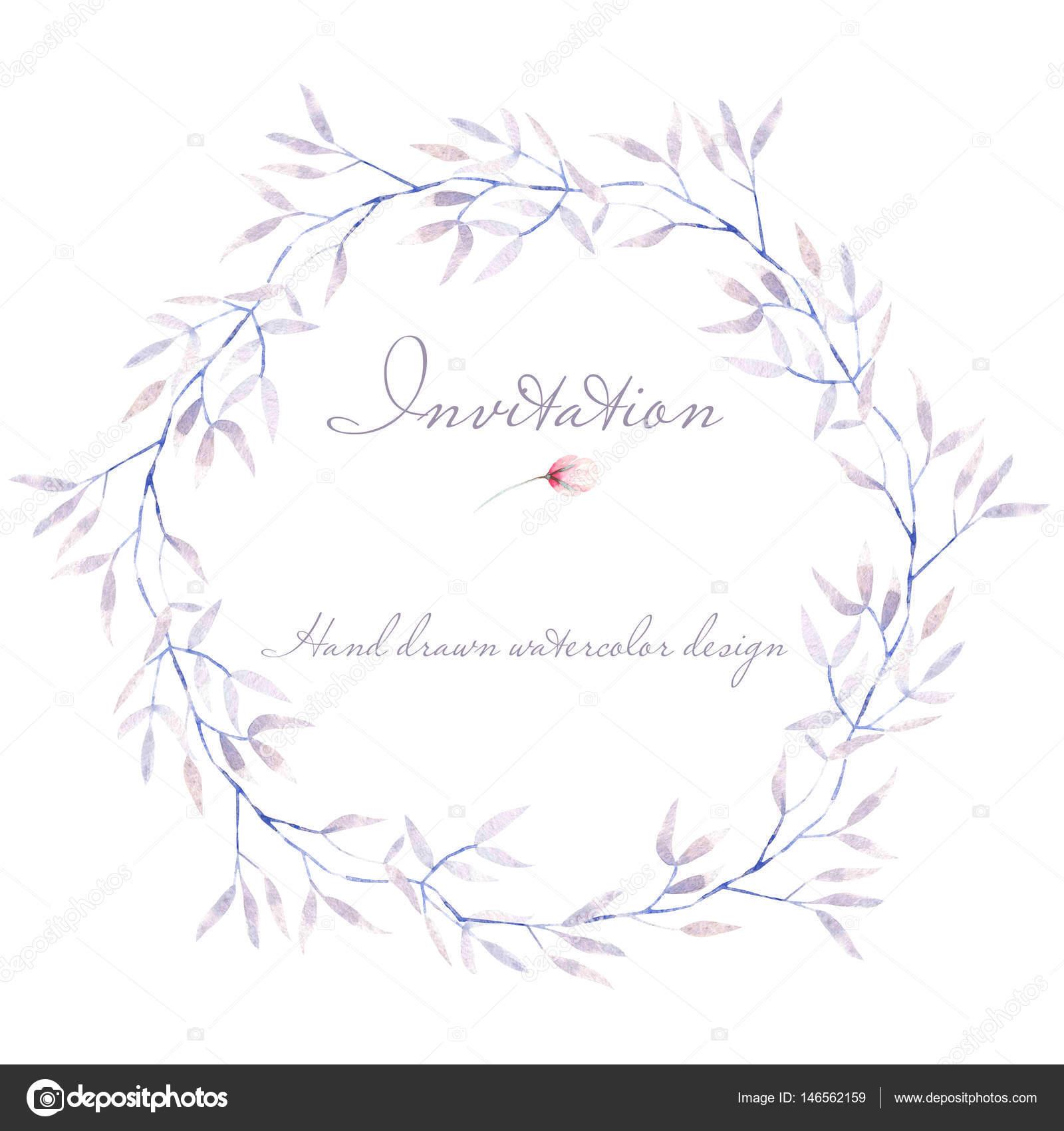 Marco de círculo, frontera, corona con ramas de árbol púrpura tierna ...