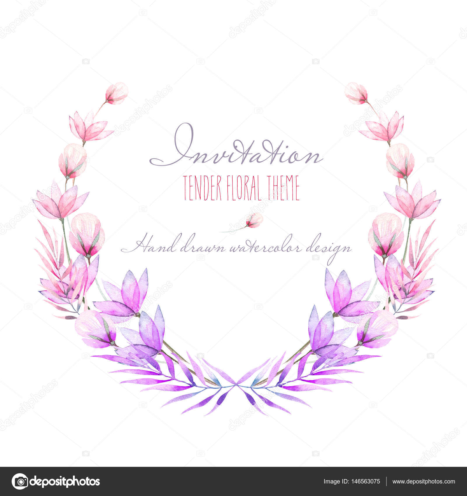 Circle Frame Border Wreath With Watercolor Tender Flowers And Leaves In Purple Pink