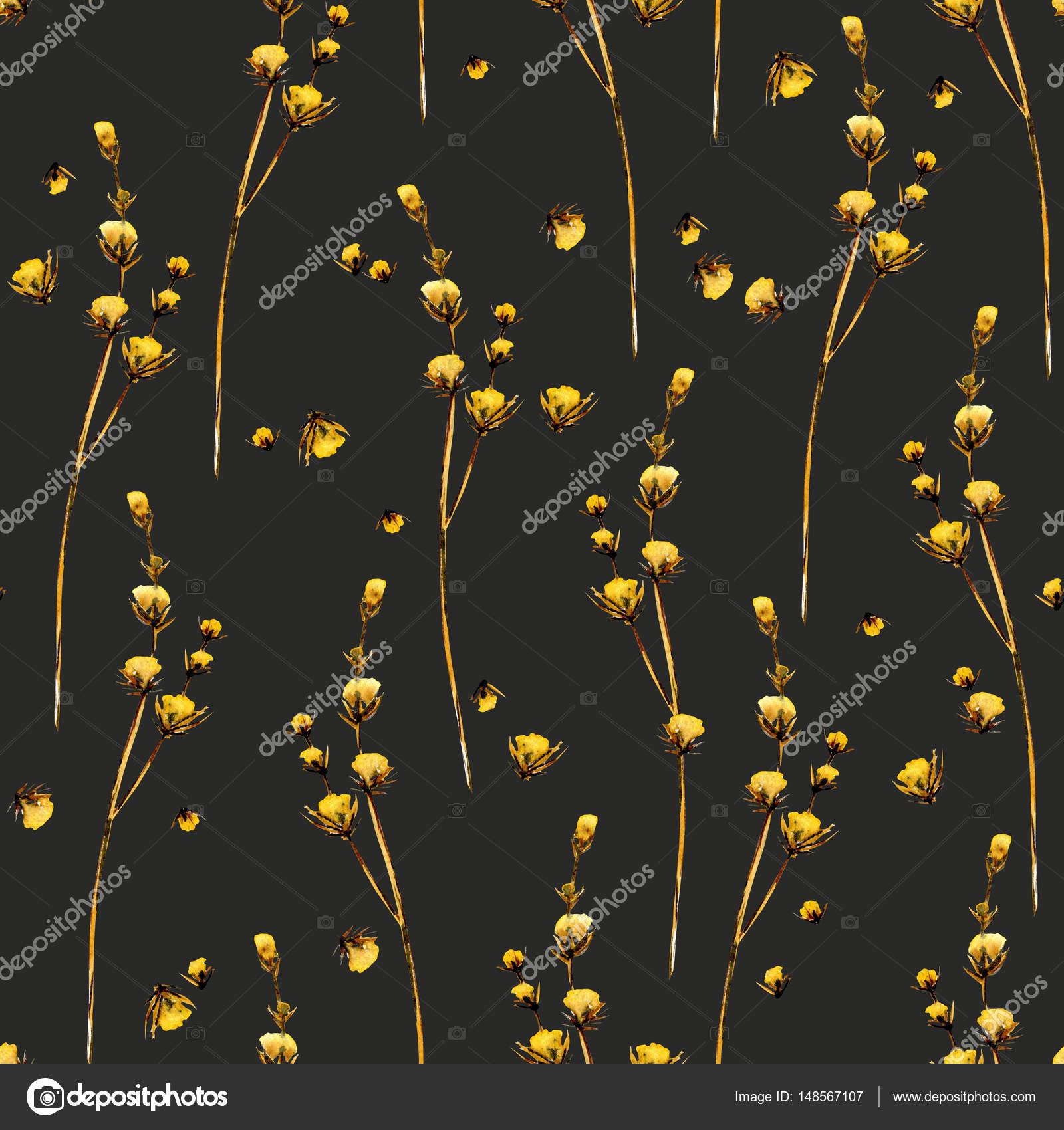 Motif Floral Transparent Avec Des Fleurs Sechees Jaunes