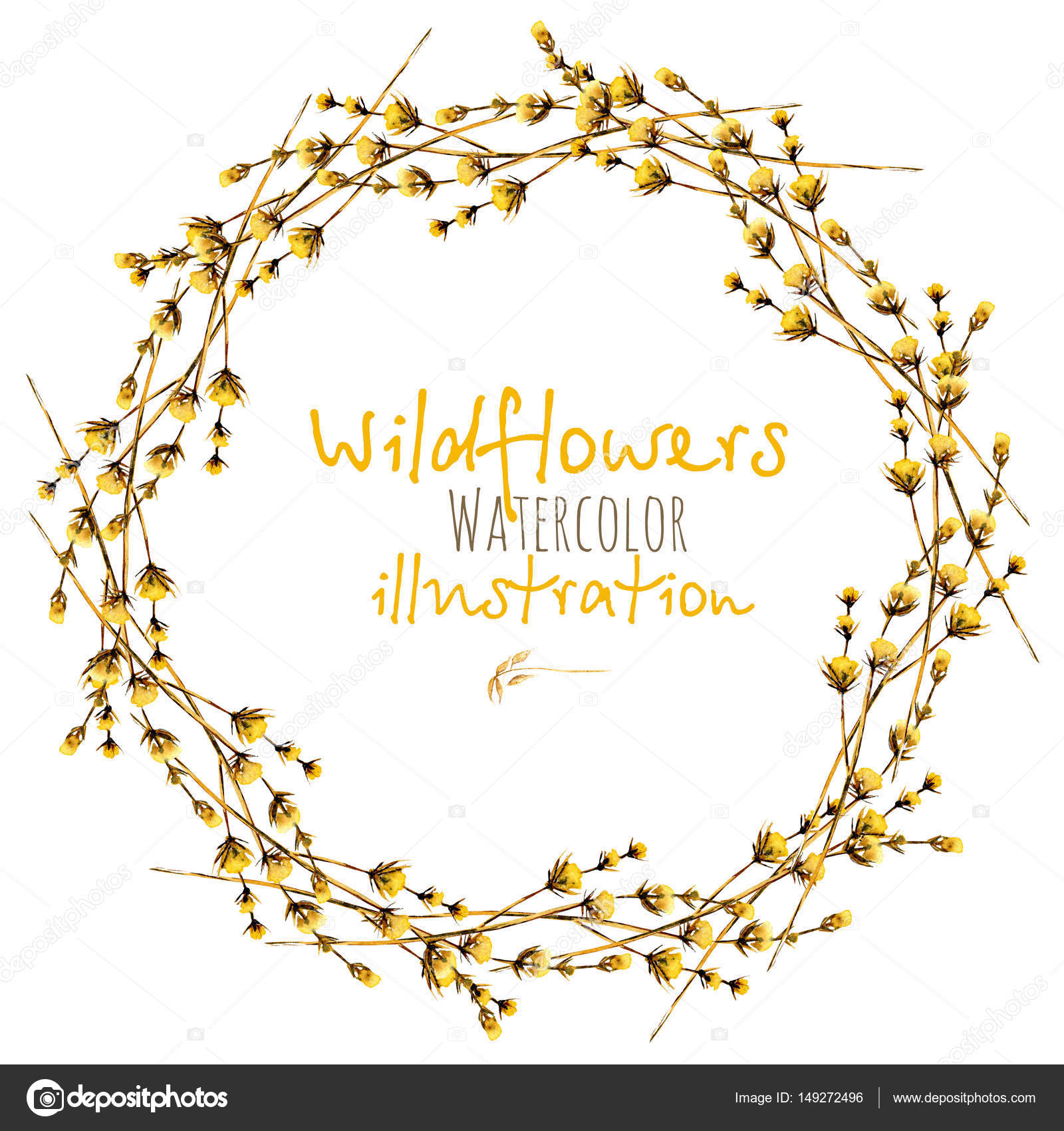Guirnalda, frontera de marco de círculo con flores silvestres secas ...