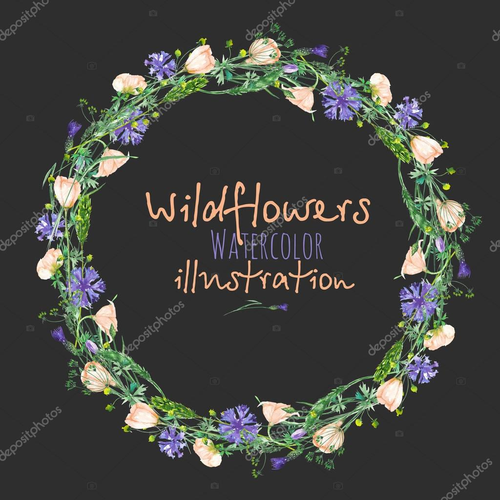 Wreath, circle frame border with wildflowers, eustoma and cornflowers