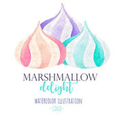 Watercolor marshmallow illustration, for use in a logo, sign, symbol