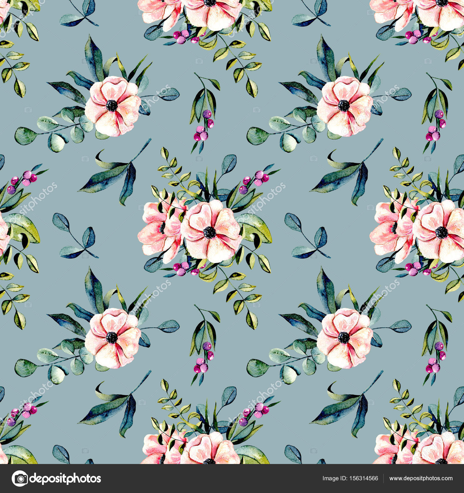 Seamless Floral Pattern With Watercolor Pink Flowers And Eucalyptus