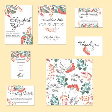 Template cards set with watercolor rowan tree and other autumn tree branches